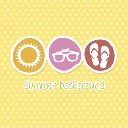 cons: summer icons over yellow background. vector illustration