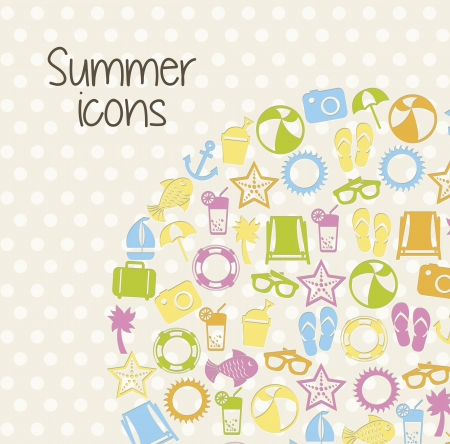 summer icons over beige background. vector illustration Stock Vector - 18921211
