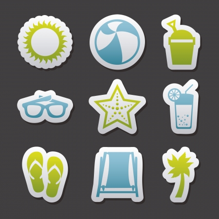 summer icons over gray background. vector illustration Vector