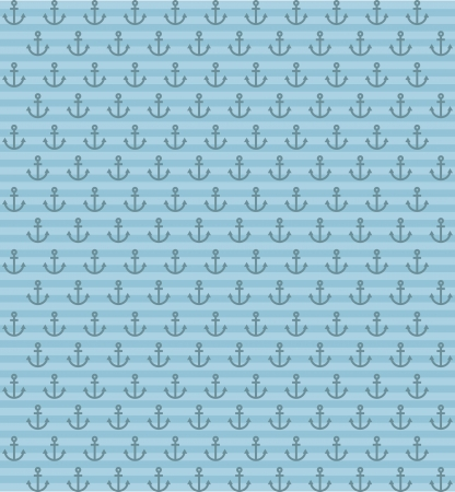 anchor pattern over blue background. vector illustration Stock Vector - 18920918