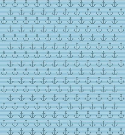 anchored: anchor pattern over blue background. vector illustration Illustration