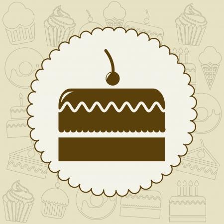 großen Kuchen-Symbol über Label Hintergrund. Vektor-Illustration