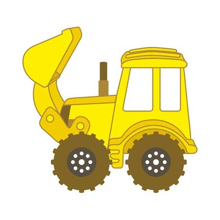 yellow tractor: historieta excavadora sobre fondo blanco. ilustraci�n vectorial Vectores