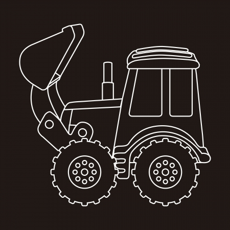 excavator in lines  over black background. vector illustration Vector