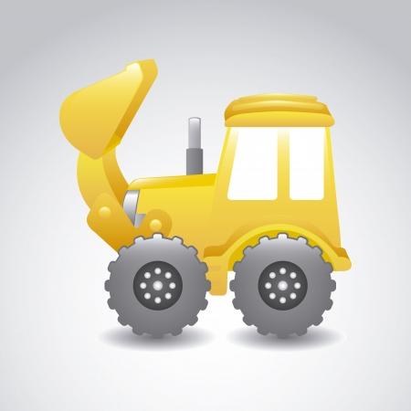 ダンプ: 灰色の背景上の掘削機の漫画。ベクトル イラスト