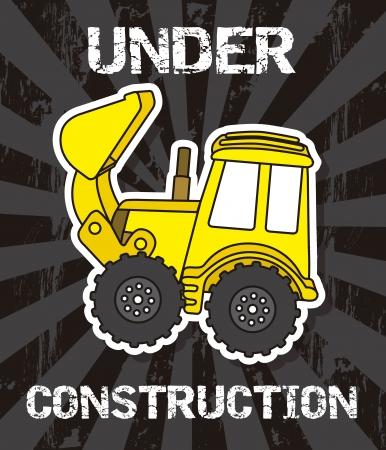 yellow tractor: historieta excavadora sobre fondo negro. ilustraci�n vectorial