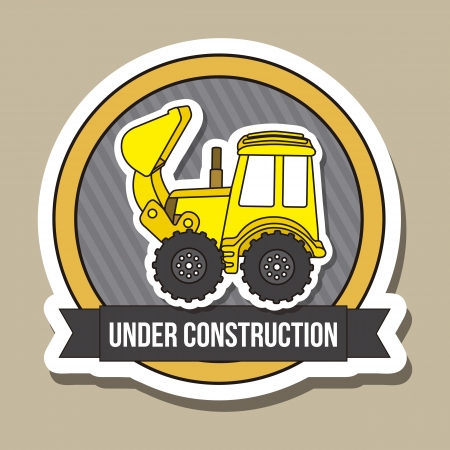 excavator cartoon over brown background. vector illustration Vector