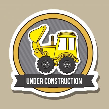 yellow tractor: historieta excavadora sobre fondo marr�n. ilustraci�n vectorial