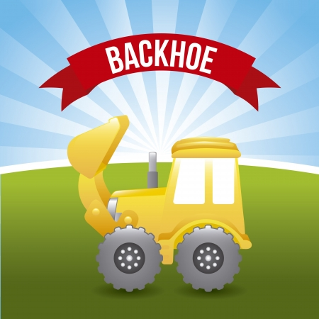 excavator cartoon over landscape background. vector illustration Vector