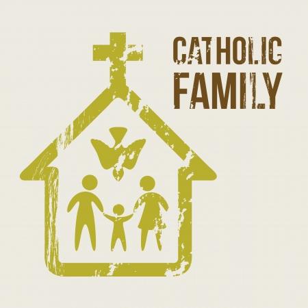 familia en la iglesia: familia católica sobre fondo beige. ilustración vectorial Vectores