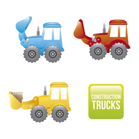 excavator cartoon over white background. vector illustration Vector