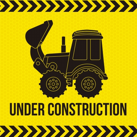 excavator cartoon over yellow background. vector illustration Vector