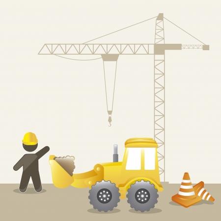 cartoon building: under construction background with man cartoon. vector illustration
