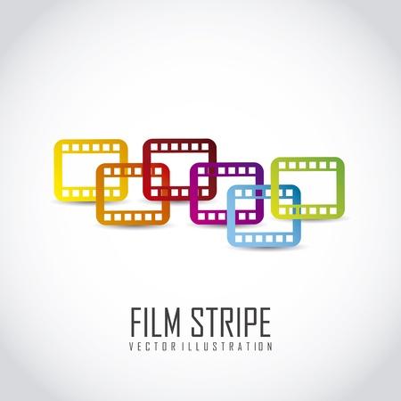 Roll film: franja de cine sobre fondo gris. ilustraci�n vectorial