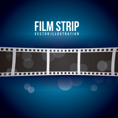 photo strip: film stripe over blue background. vector illustration