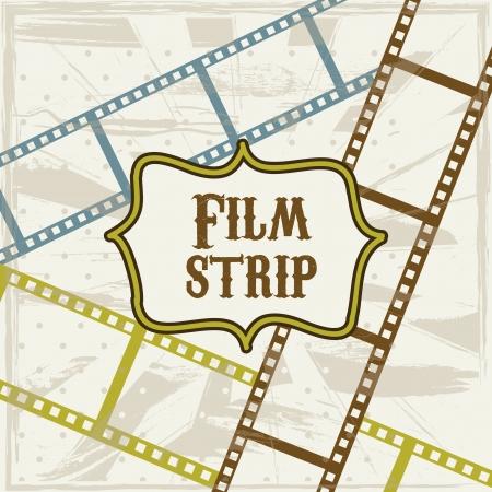 photography backdrop: film stripe over beige background. vector illustration Illustration