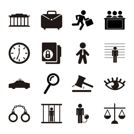 legal: jail icons over white background. vector illustration