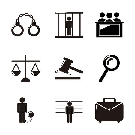 prosecutor: Icone carcere su sfondo bianco. illustrazione vettoriale
