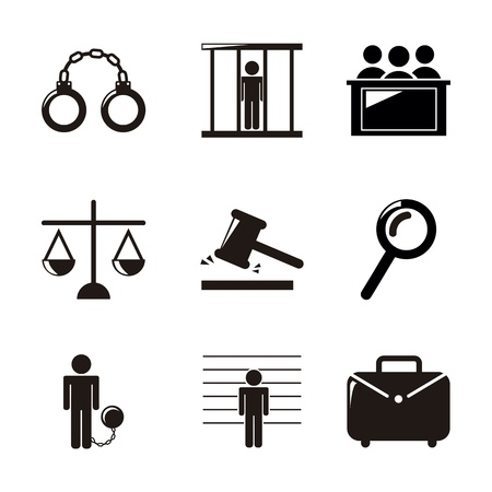 tribunal: jail icons over white background. vector illustration