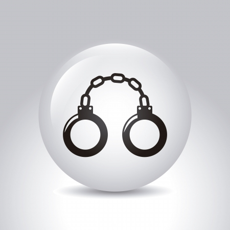shackle: handcuffs over gray background. vector illustration