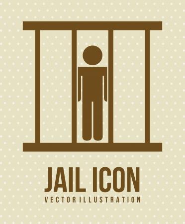 incarceration: icono de la c�rcel sobre fondo beige. ilustraci�n vectorial
