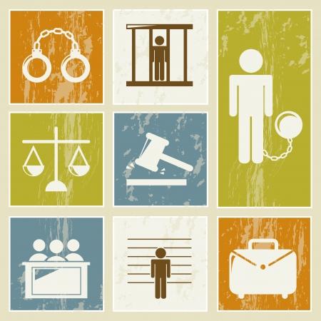 jail icons over beige background. vector illustration