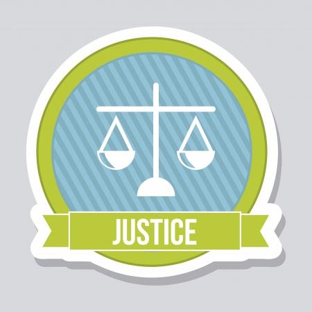 balanza en equilibrio: justicia icono sobre fondo gris. ilustración vectorial