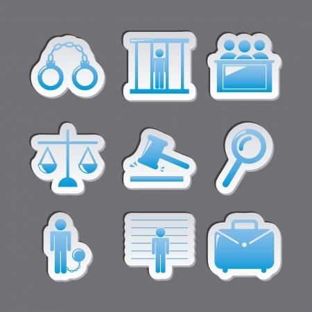 prosecutor: Icone carcere su sfondo grigio. illustrazione vettoriale