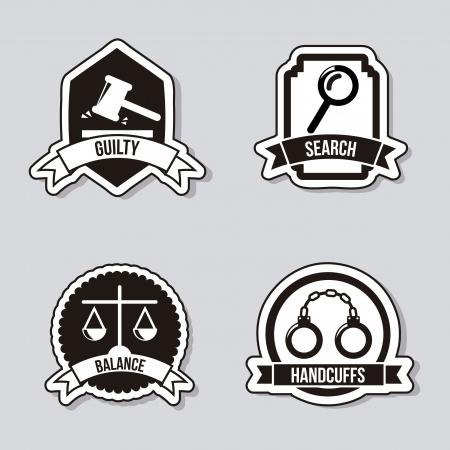 abogado: Iconos de la justicia sobre fondo gris. ilustraci�n vectorial Vectores