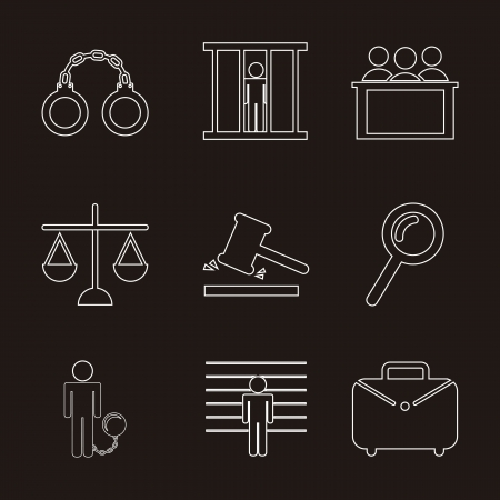 jail icons over black background. vector illustration Vector