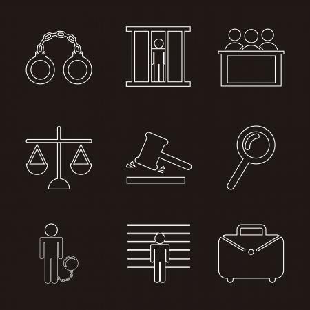 pledge: jail icons over black background. vector illustration Illustration