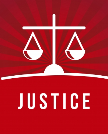 justice icon over red background. vector illustration Vector