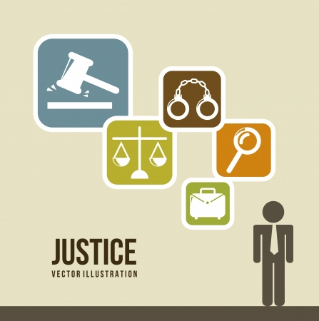 investigating: justice icons over  beige background. vector illustration