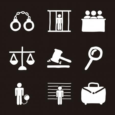 prosecutor: Icone carcere su sfondo nero. illustrazione vettoriale Vettoriali