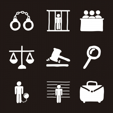 tribunal: jail icons over black background. vector illustration Illustration