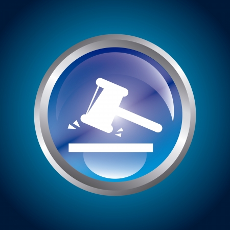 fairness: guilty button over blue background. vector illustration