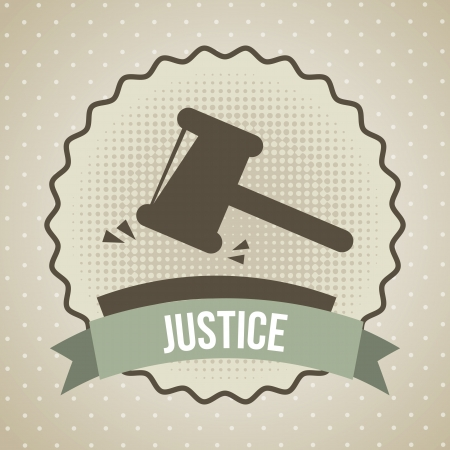 justice hammer: justice icon over beige background. vector illustration