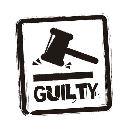 prosecution: guilty seal over white background. vector illustration