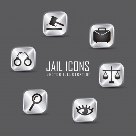tribunal: jail icons over gray background. vector illustration