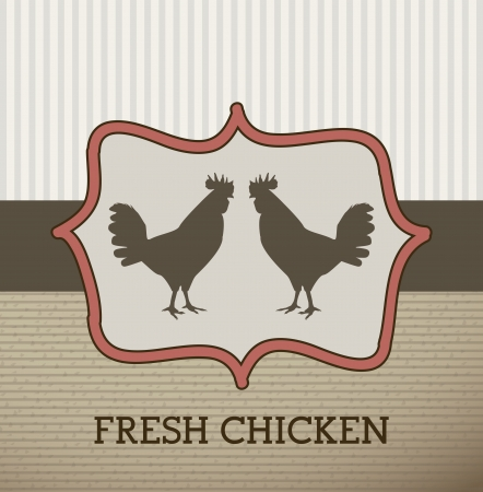 fresh chicken label over beige background. vector illustration Vector