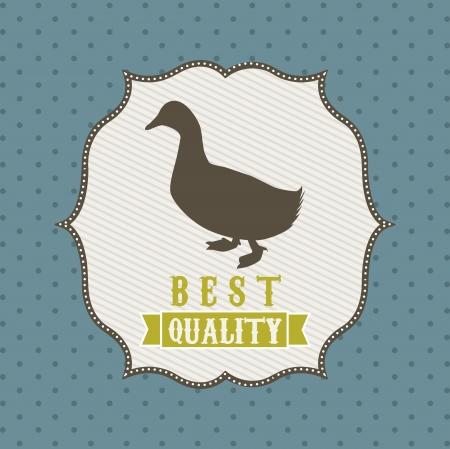 duck meat over blue background. vector illustration