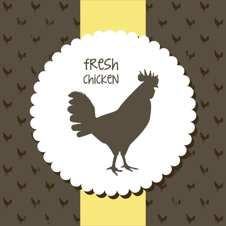 fresh chicken label over brown background. vector illustration Vector