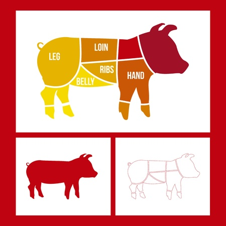 jowl: pork cuts over red background. vector illustration