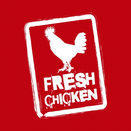 fresh chicken label over red background. vector illustration Vector