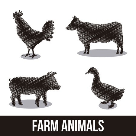farm animals over white background. vector illustration Vector