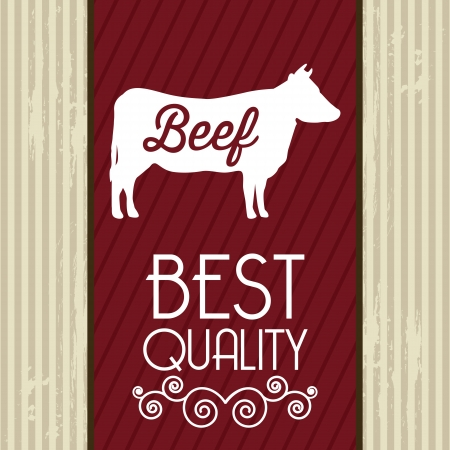 beef label over beige background. vector illustration Vector