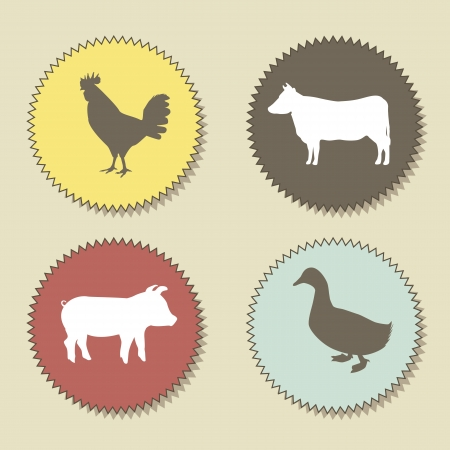cooked meat: farm animals over beige background. vector illustration