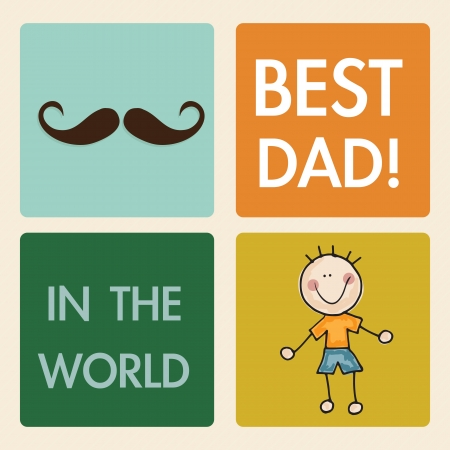 family outside: Fathers Day Icons and Cards ( Concepts) Vector illustration