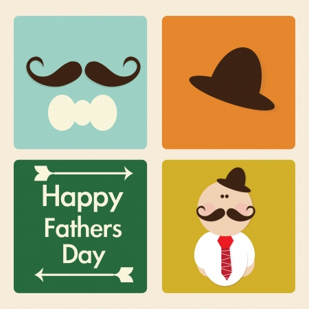 dad and child: Fathers Day Icons and Cards ( Concepts) Vector illustration