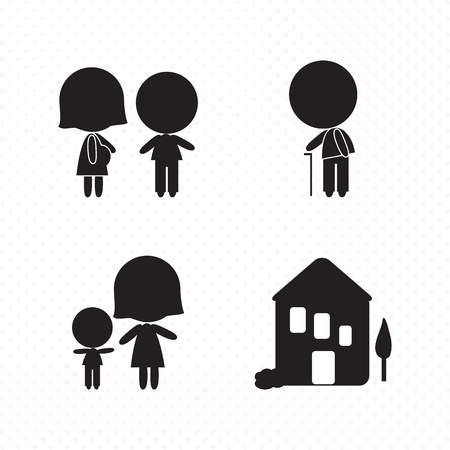 child care: Different Family Icons (concepts, illustrations, silhouettes), Vector file